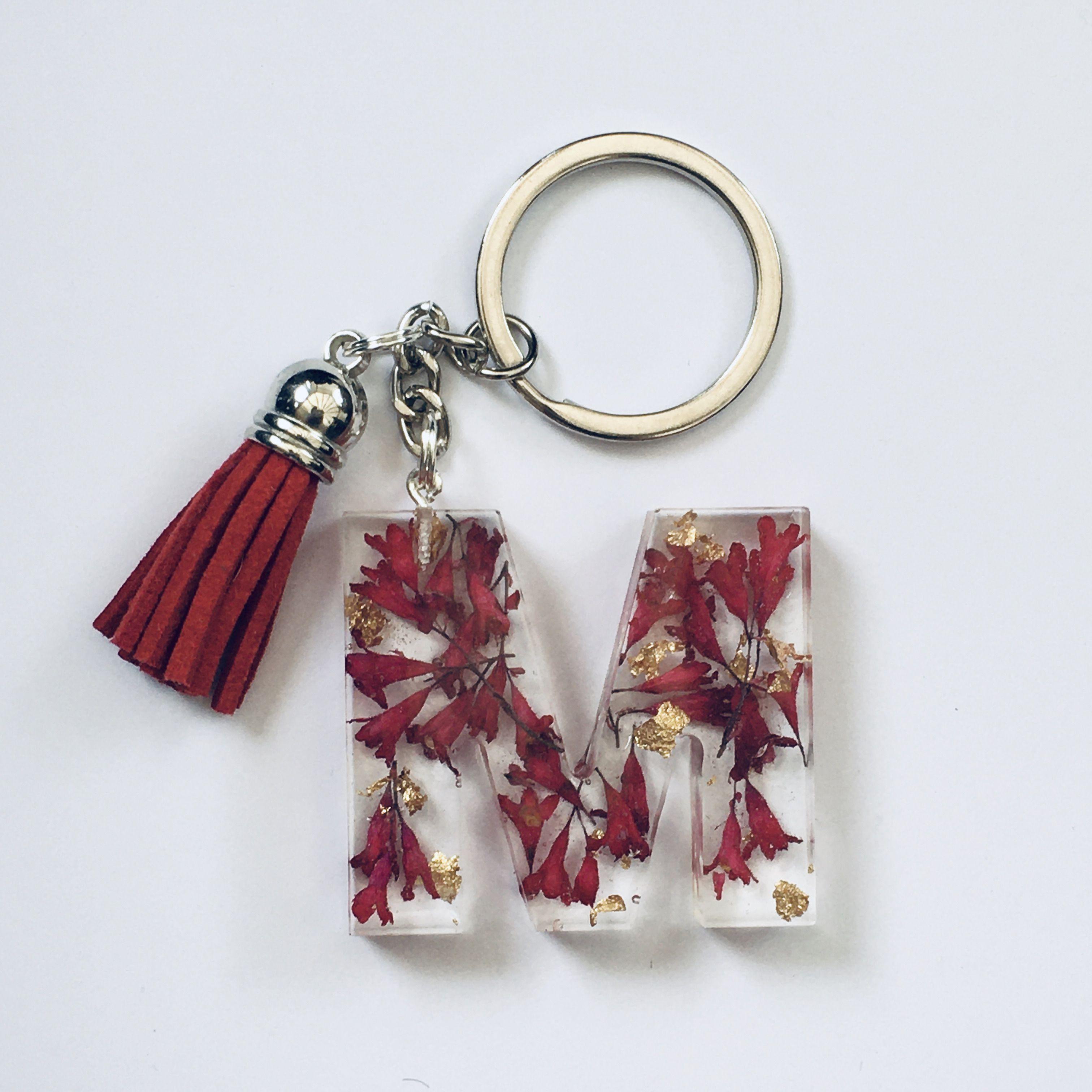 Letter H Resin /& Real Flowers Alphabet Letters Botanical Initial Keyring  Flower Bag Charm