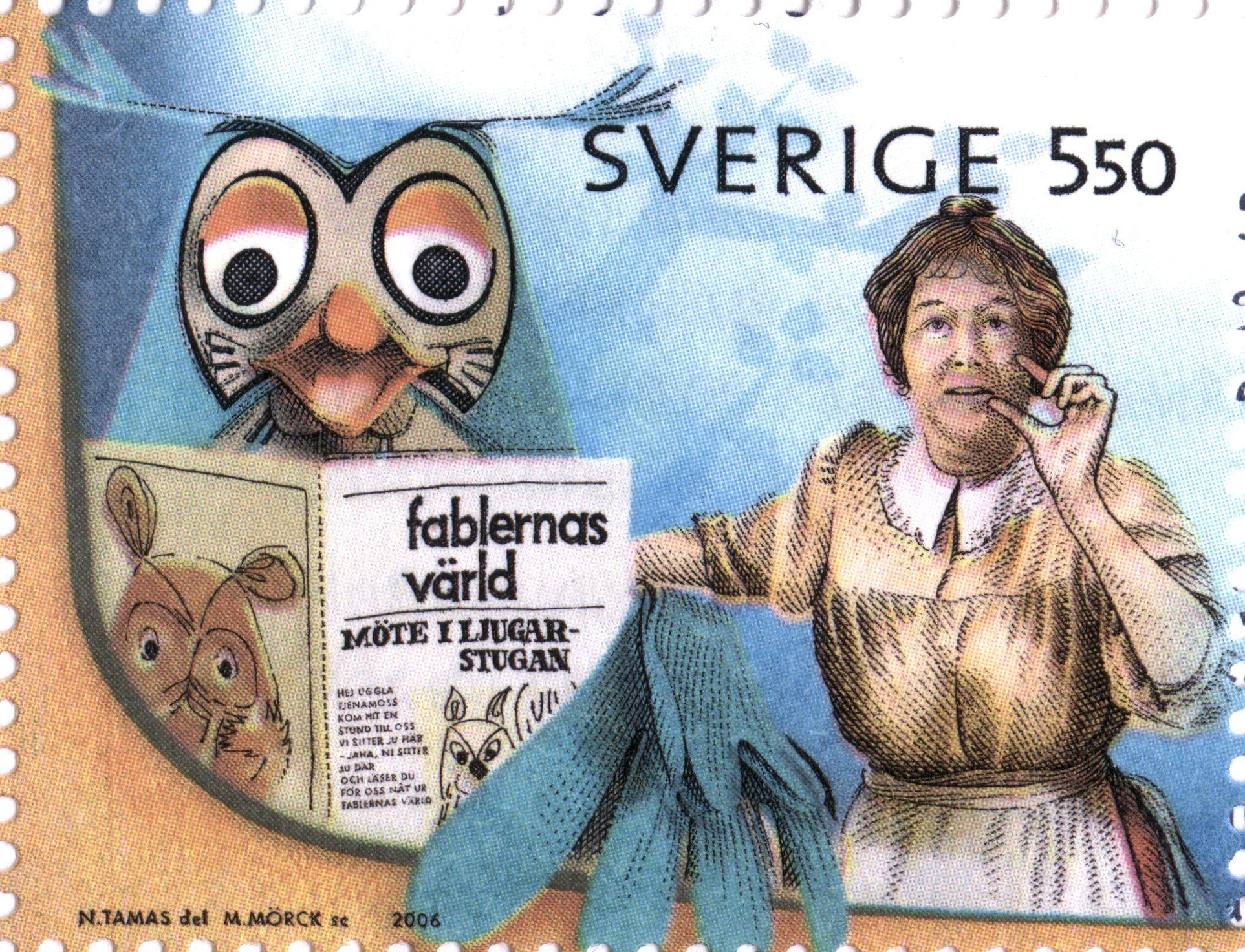 """Sweden 5kr50ö """"Childrens Television"""" 2006. """"I fablernas värld""""/""""The Daily Fable"""" (Dutch: Fabeltjeskrant) & Alf Prøysens """"Teskedsgumman""""/""""Mrs Pepperpot"""" (Norwegian: """"Teskjekerringa""""). Martin Mörck sc."""