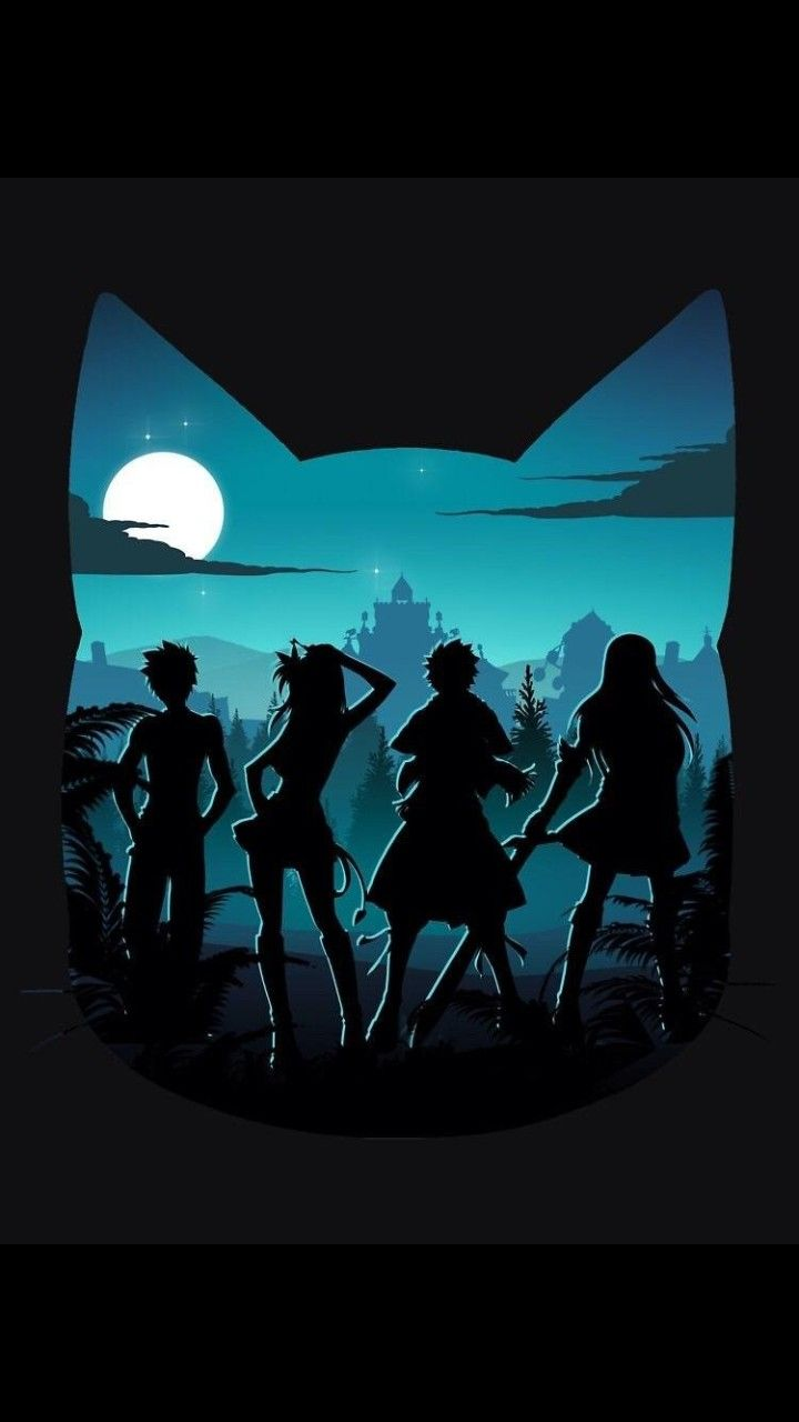 Ft Characters Night Kitty Head Silhouette Gray Lucy Natsu