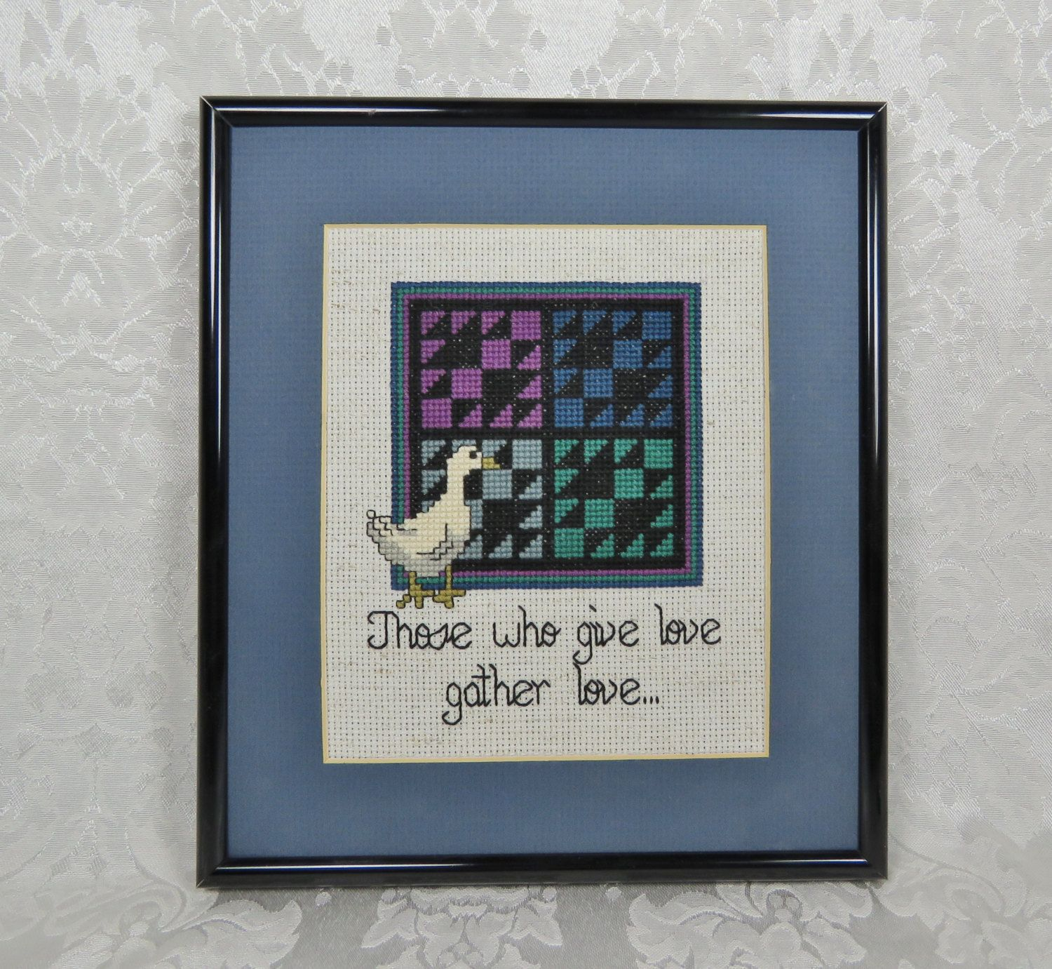 Amish Quilt Cross Stitch/ Those Who Give Love/ White Goose Cross ...