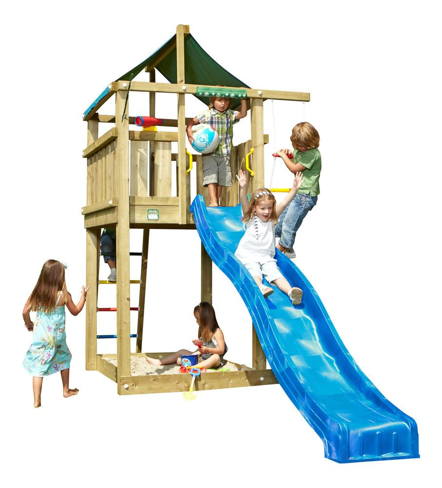 jungle gym spielturm lodge kletterturm mit rutsche. Black Bedroom Furniture Sets. Home Design Ideas