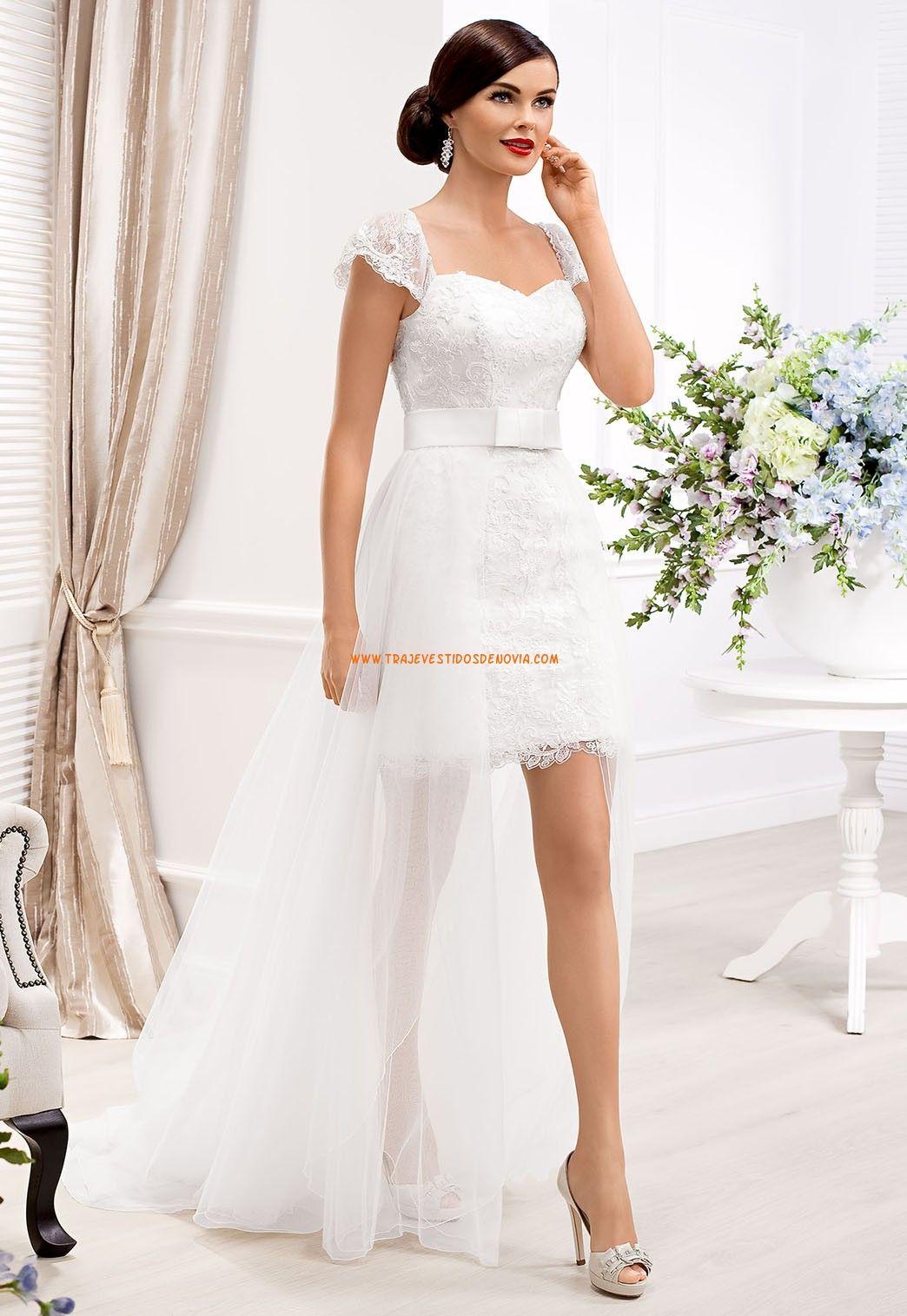 e22f4a322 Vestidos de novia de tul con cola desmontables de encaje