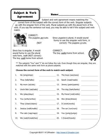 Subject And Verb Agreement Worksheets  Worksheets Subject Verb