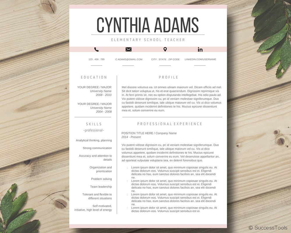 teacher resume template  modern resume template word  cv template for ms word  resume package with