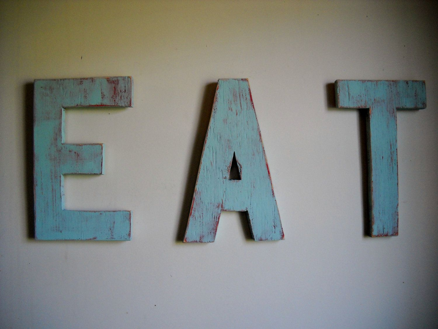 Vintage Inspired EAT Sign Kitsch Distressed Shabby Chic Kitchen Wood Sign  Custom Handmade. $35.00,