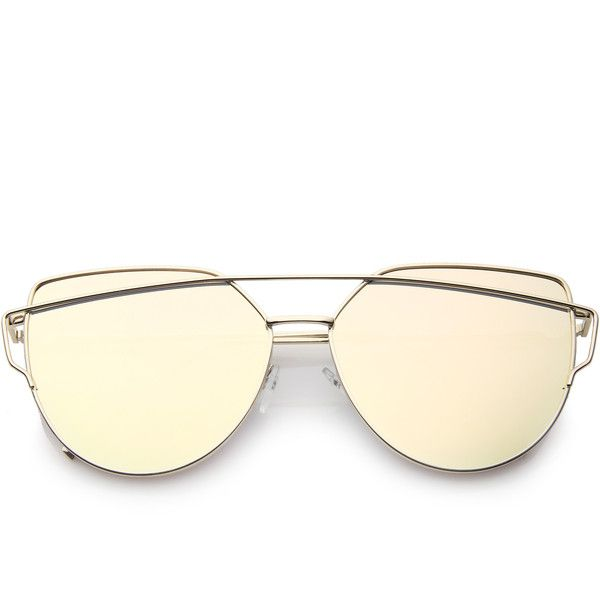 fab56b073c Oversize Thin Cross Brow Mirrored Flat Lens Sunglasses A545 (€12 ...