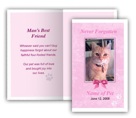Pink Pet Memorial Folded Card Template, 4 per sheet, Edit in - memorial card template
