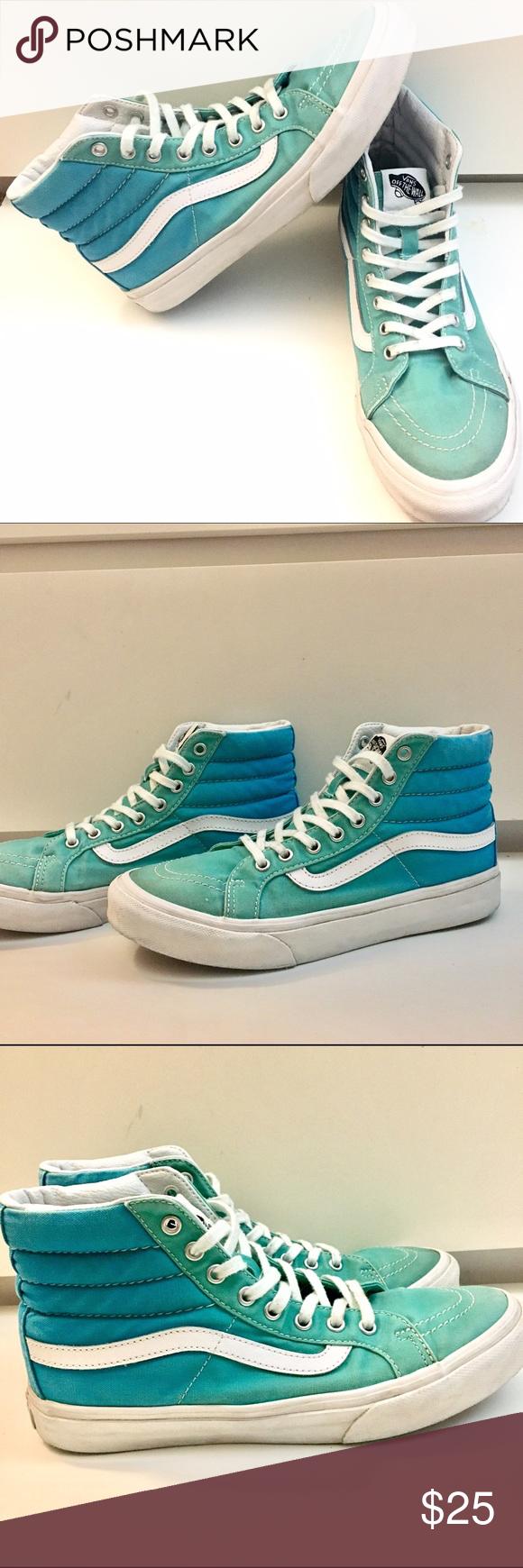 9b206e529d Vans Old Skool Sk8 Hi. Ombré blue-green. Vans Old Skool Sk8 Hi shoes in a  really cute blue to green ombré. Men s 5.5 Women s 7. Vans Shoes Sneakers
