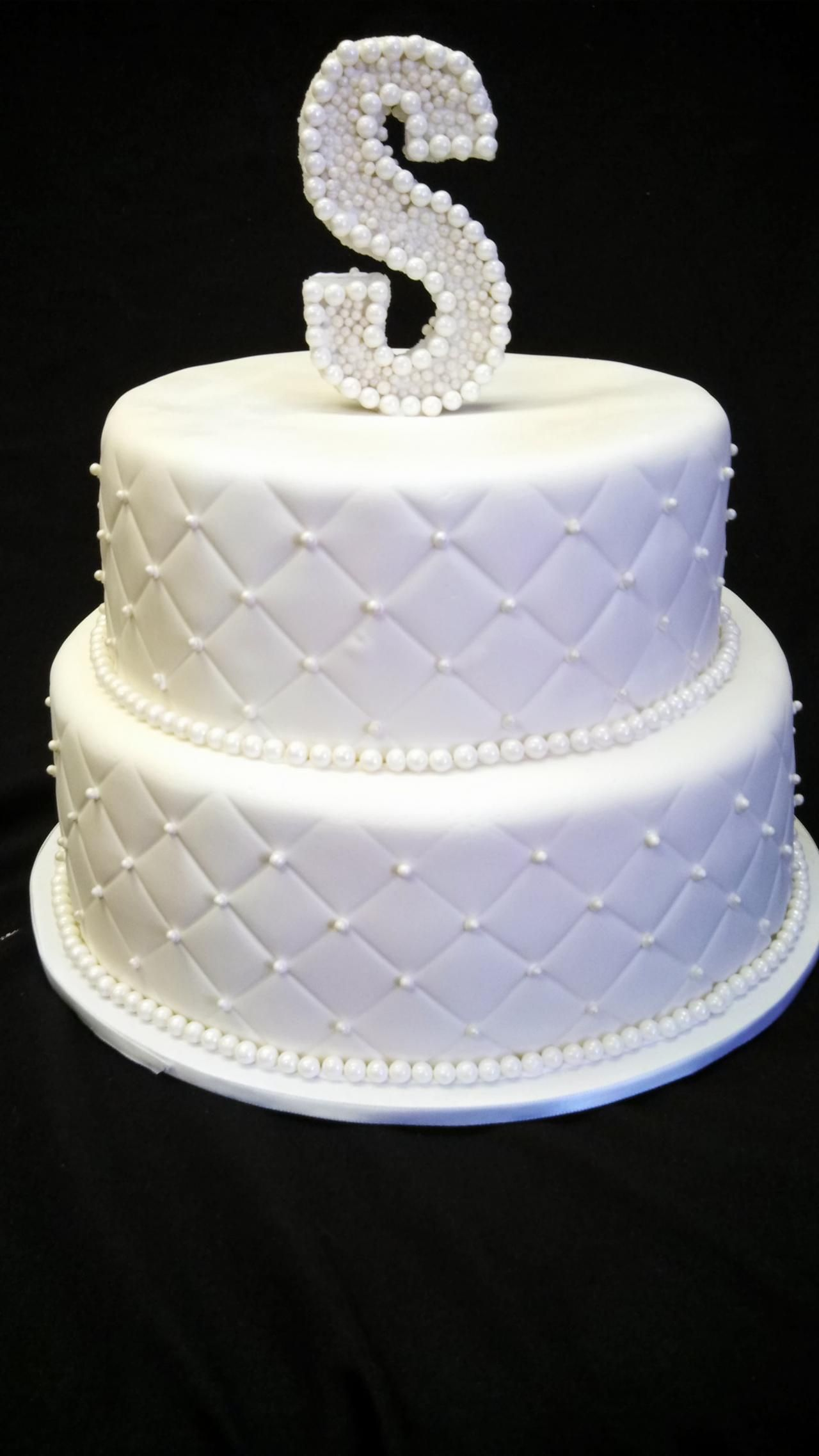 Diamond and Pearls Cake ... white, diamond pattern, pearl accents ...