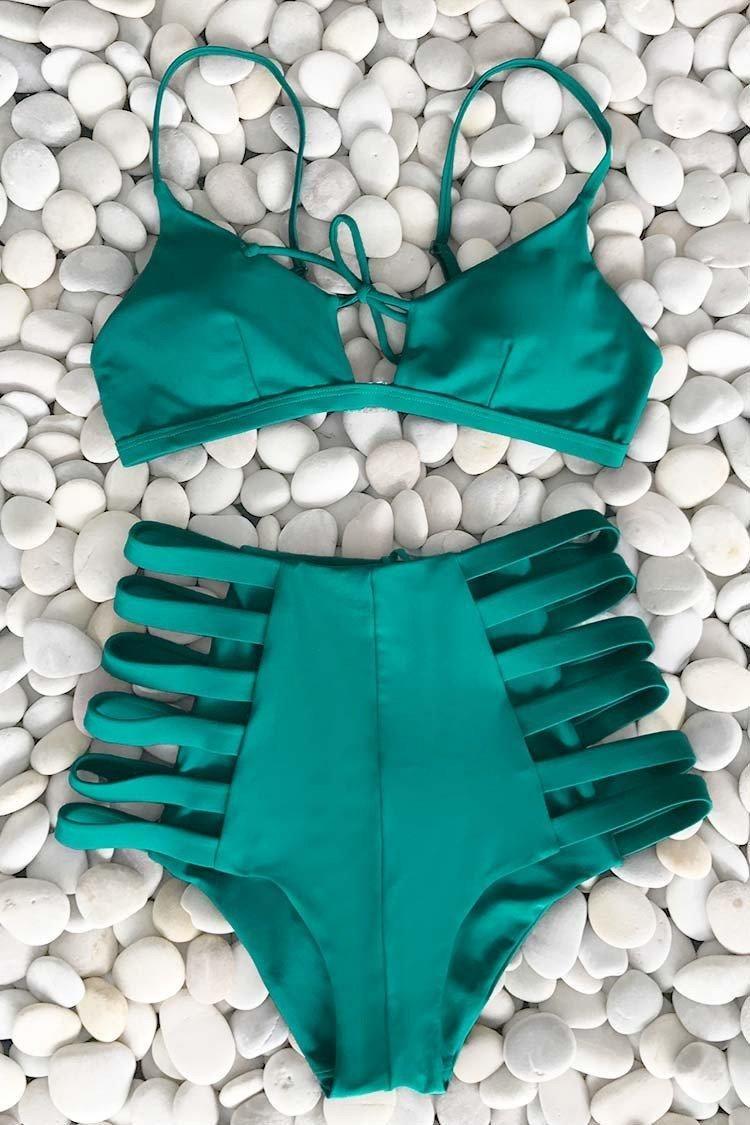 #CupShe - #CUPSHE Cupshe Come See Me Strappy Bikini Set - AdoreWe.com