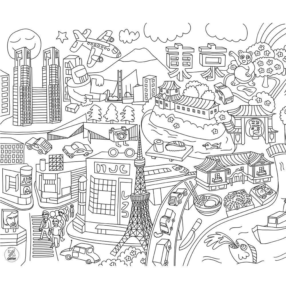 Busy City Kleurplaten Placemats Afbeeldingen