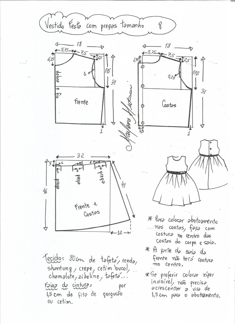 Patrón vestido de fiesta para niña con la falda plisada | Patrones ...
