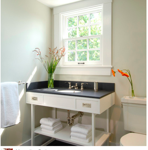 Bathroom Designs York york single vanity in paperwhite from waterworks -- with slate top