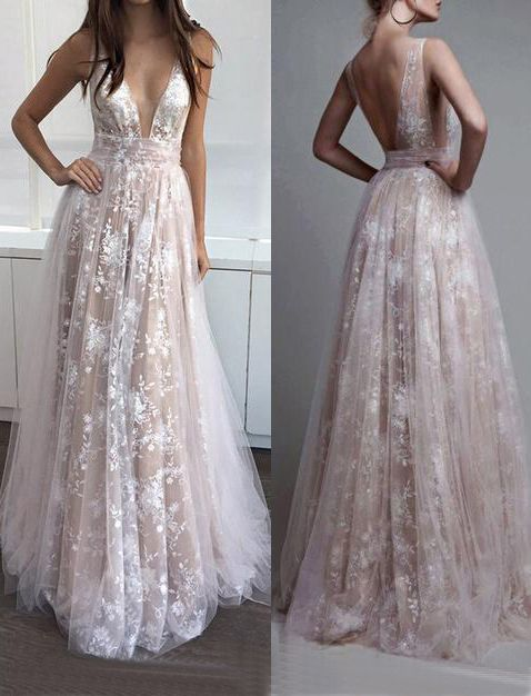 prom dresses,prom dress,A-Line prom dress,Deep V-Neck prom dresses,Sleeveless Tulle Lace Appliques Long Prom Dress