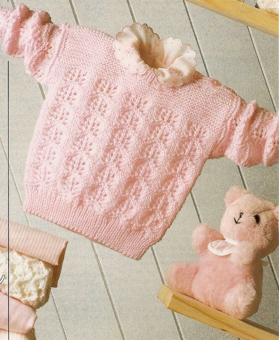PDF Knitting Pattern Baby\'s Sweater PATONS Fairytale 4 Ply 41-61 cm ...