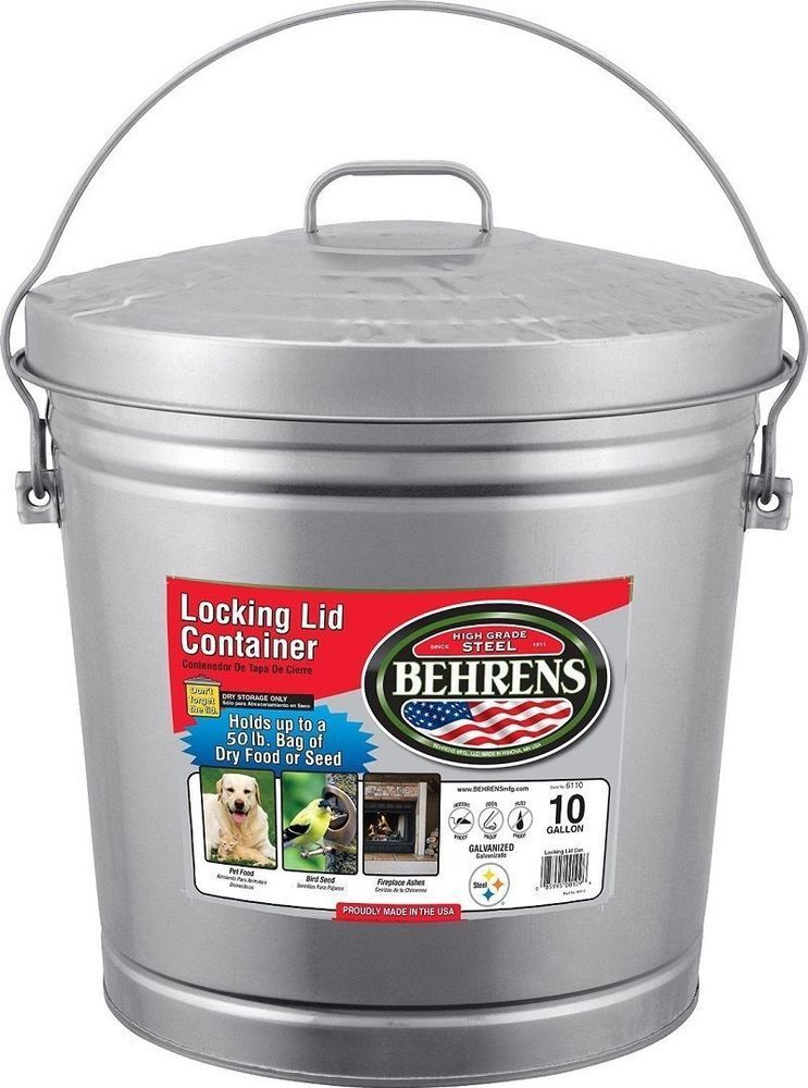 Pet Food Storage Container Steel Bucket Locking Lid Can