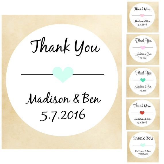 Thanks You Stickers Wedding Labels Favor Personalized Custom Customized