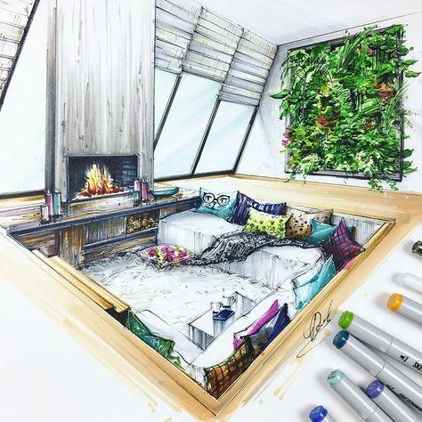 dessin, croquis, maison, intérieur, moderne, salon, cheminé, canapé ...