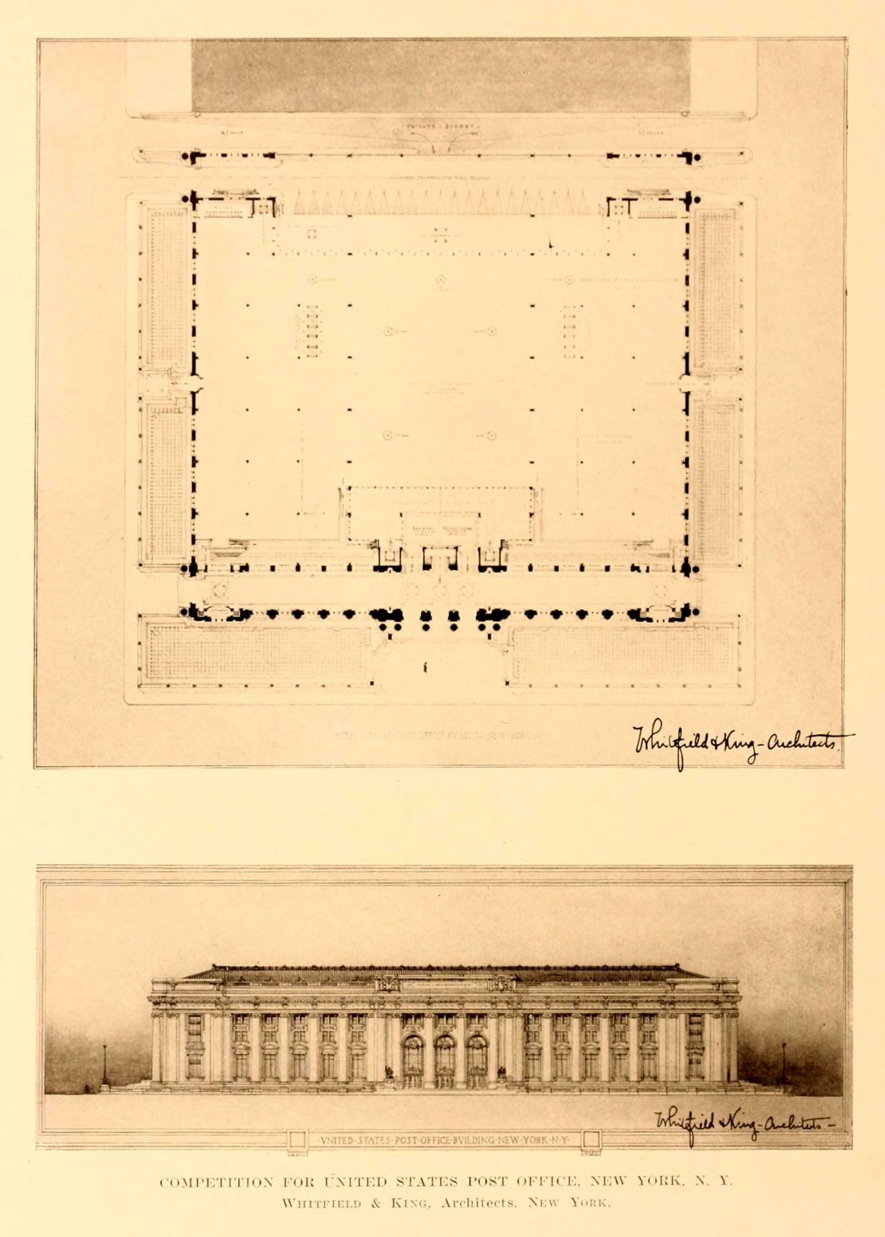 Competition design for a US Post Office Building, New York