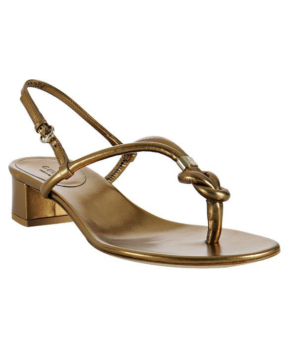 604c4be4e6f2 Gucci gold leather  Kotao  low heel sandals