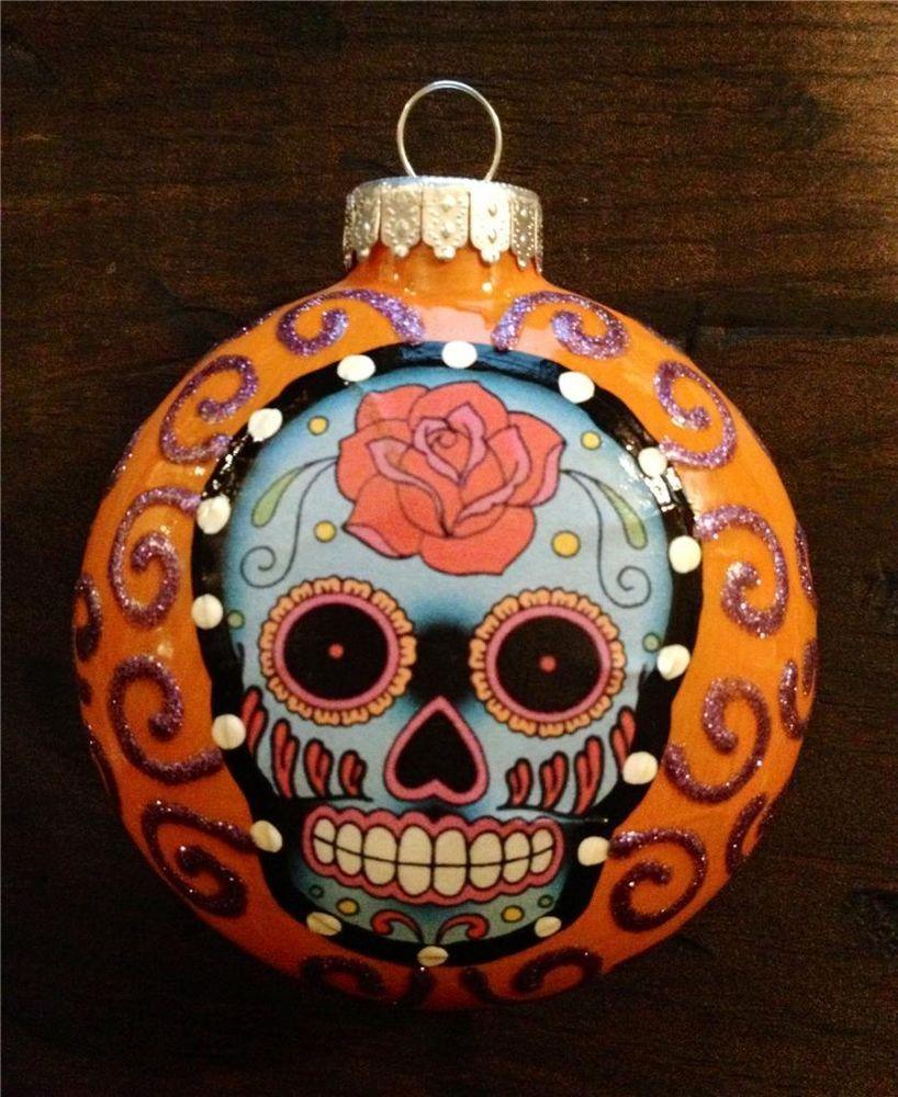Eyeball christmas ornaments - E Barnes Day Of The Dead Sugar Skull 3 Glass Ornament Christmas
