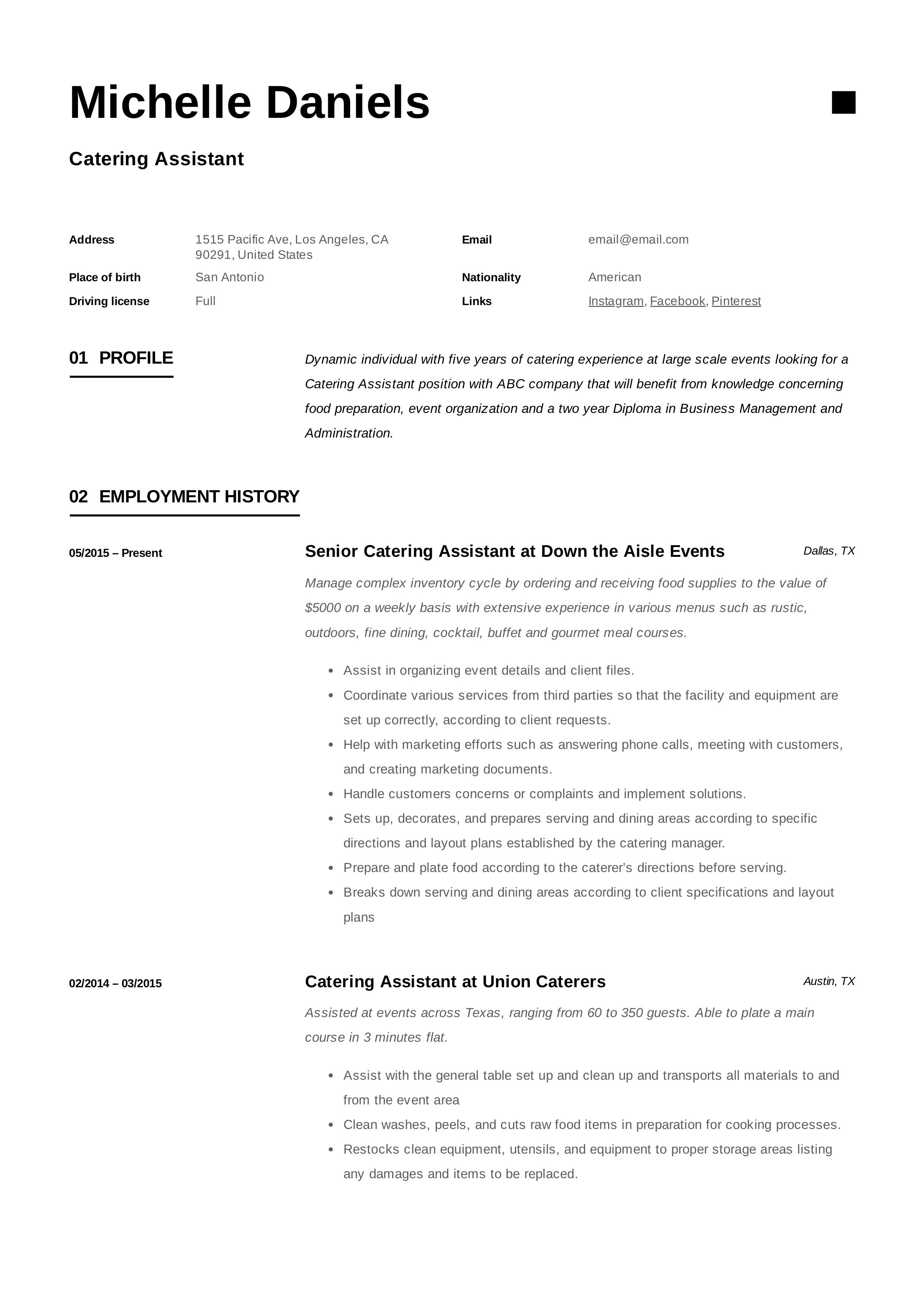 Catering assistant resume template home health aide