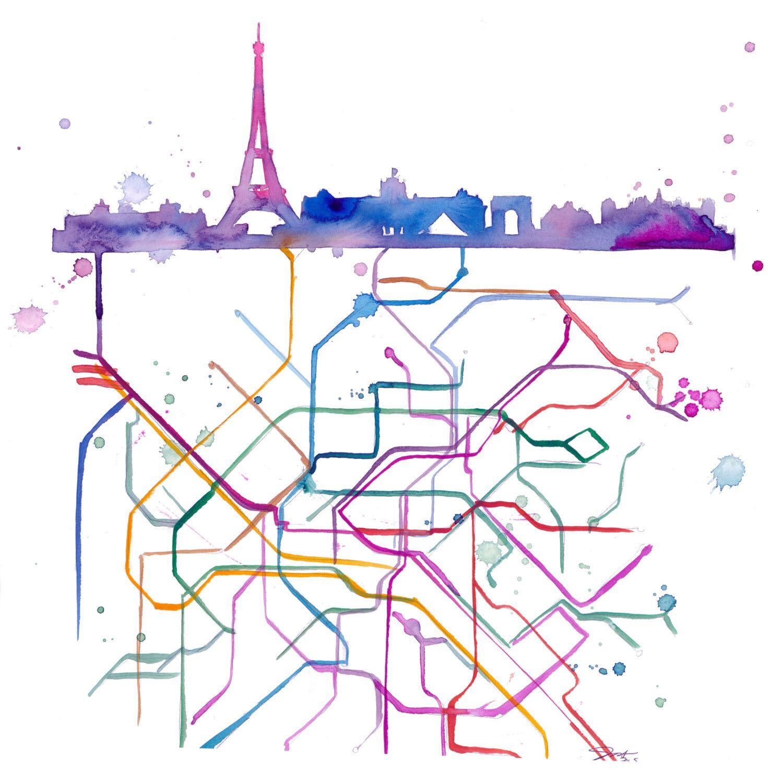 Unter Paris ein Druck nach original Aquarell von Jessica Durrant von ...