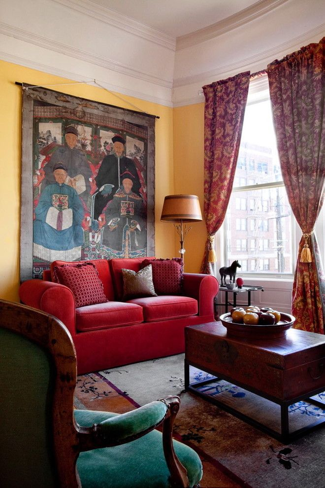 Red Sofa decorating ideas for Eclectic Living Room