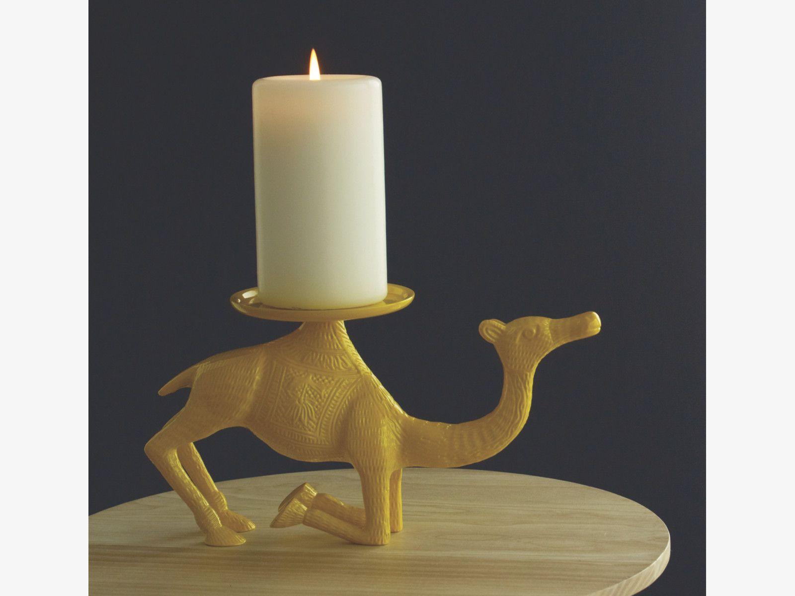 Metal yellow camel pillar candle holder habitat for the home