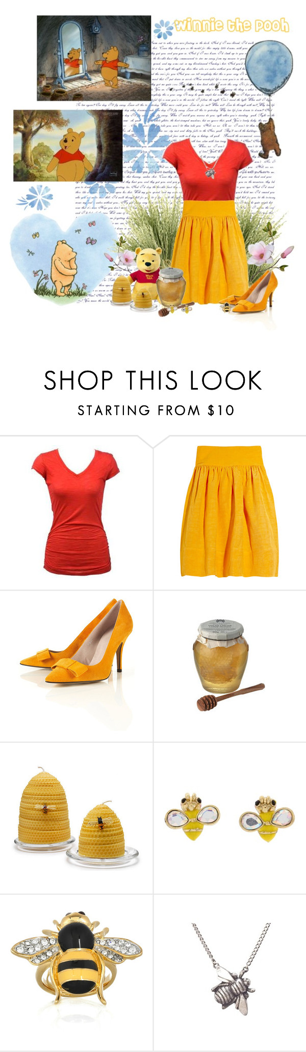 """""""Winnie the Pooh"""" by maddie-madhatt3r ❤ liked on Polyvore featuring Edition, Moschino, Burberry, Chunk, Betsey Johnson, Kenneth Jay Lane, yellow heels, bee jewelry, disney and red top"""