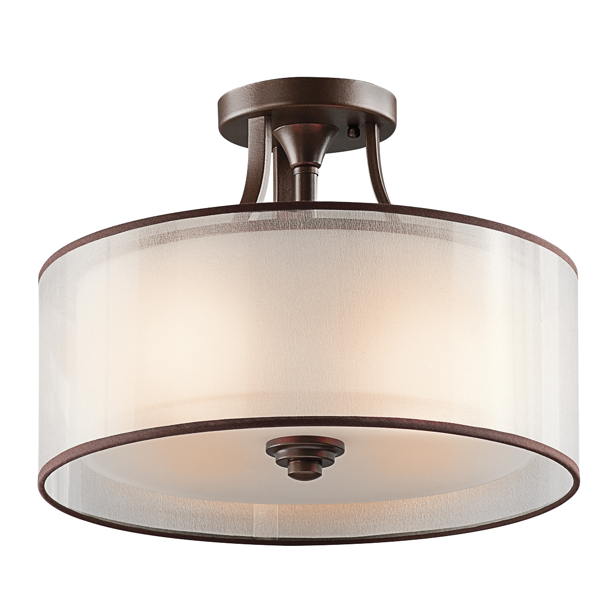 Lacey Collection 3 light Semi Flush Ceiling in Mission Bronze ...