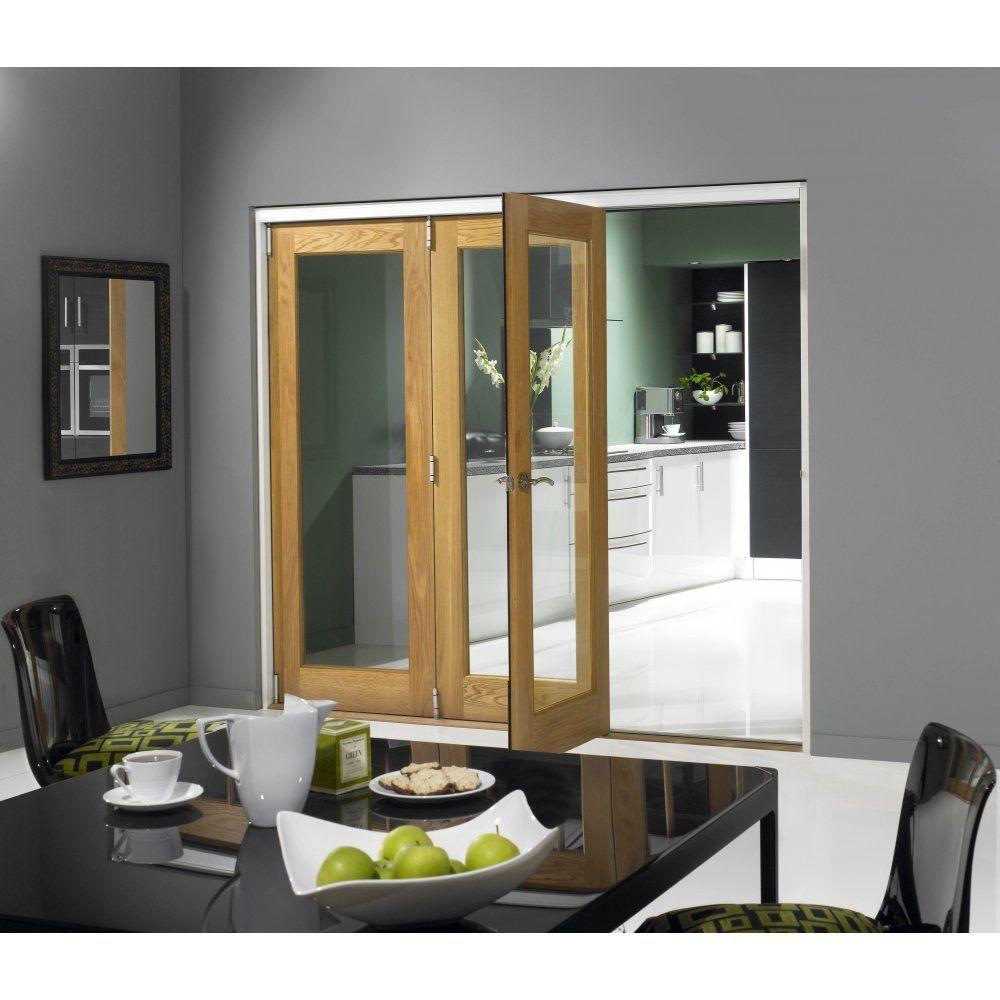 Wooddoor internal unfinished oak folding room divider