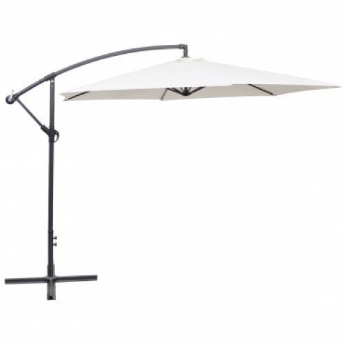 Garden Patio Parasol Hanging Sun Shade Cantilever Crank Umbrella 3m Sand White