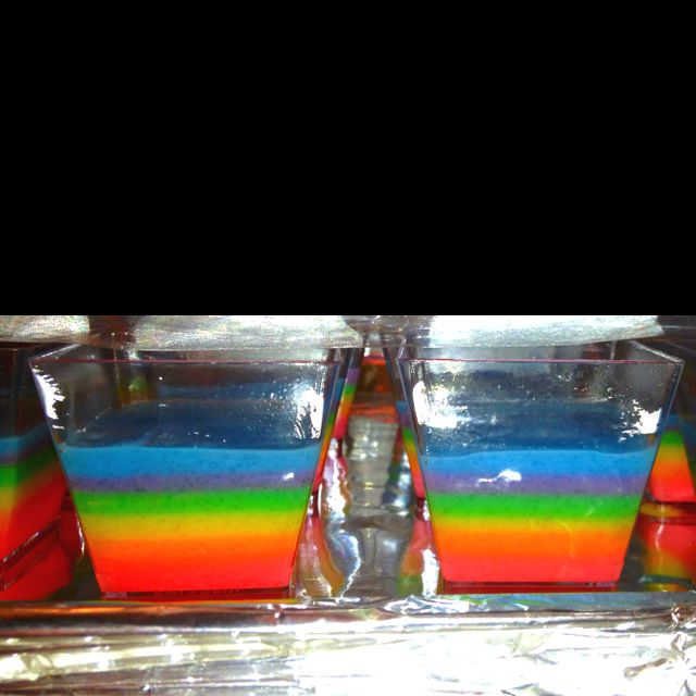 Cake Flavored Rainbow Jello Shots