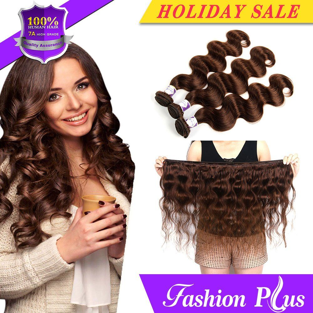 Human Hair Extensions Light Brown Brazilian Body Wave Natural Hair