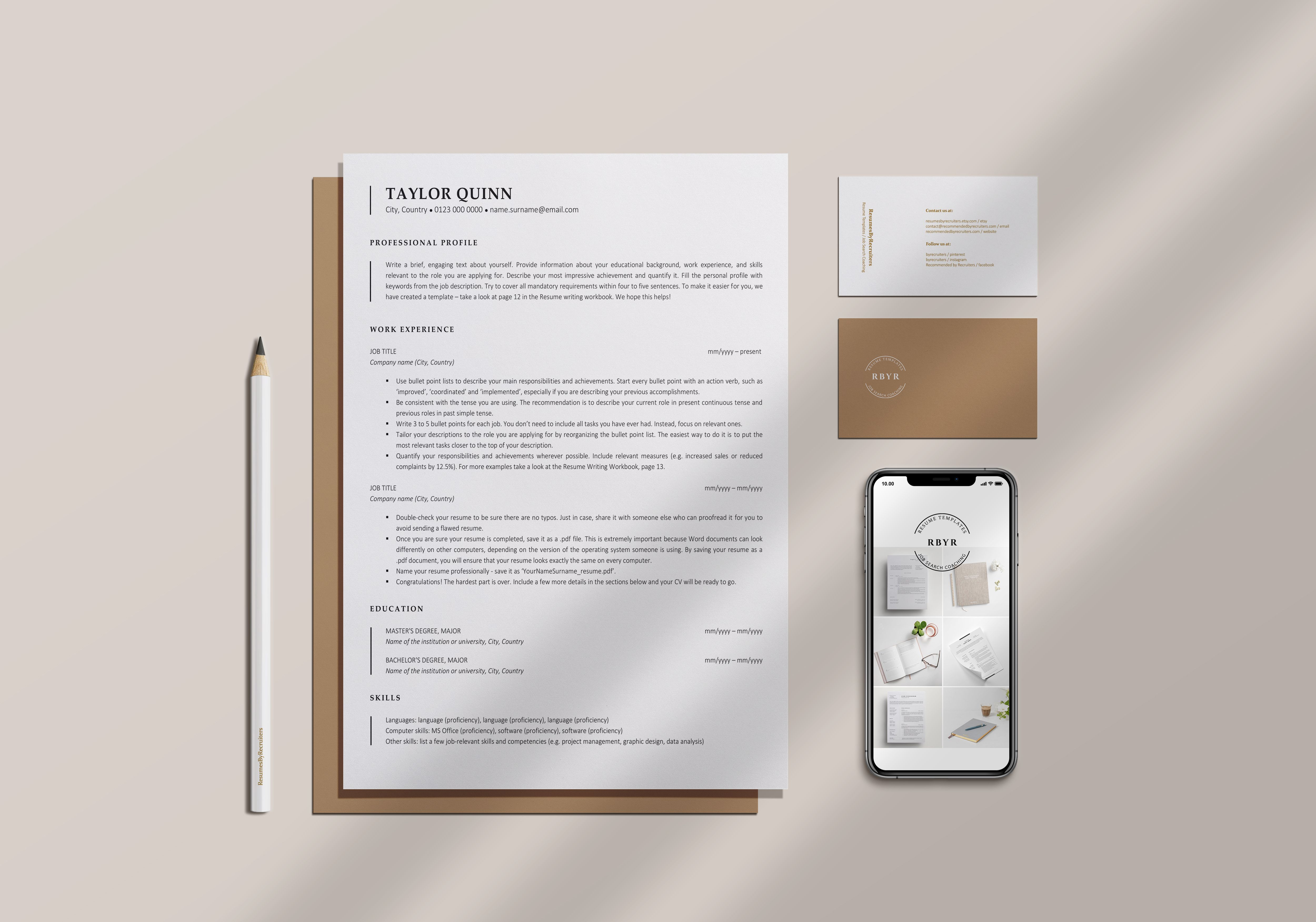 Ats resume template instant download 1 and 2page resume