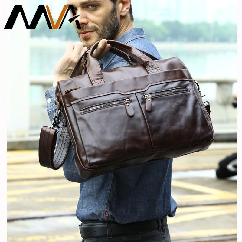US Men/'s Business Leather Briefcase Handbag Shoulder Messenger Tote Laptop Bag
