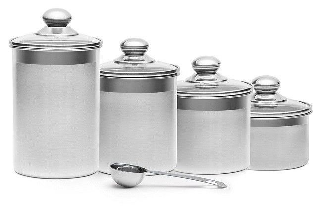 Progressive Canister Set 4 Piece Stainless Steel Kitchen Counter Top  Storage #Steel #Contemporary