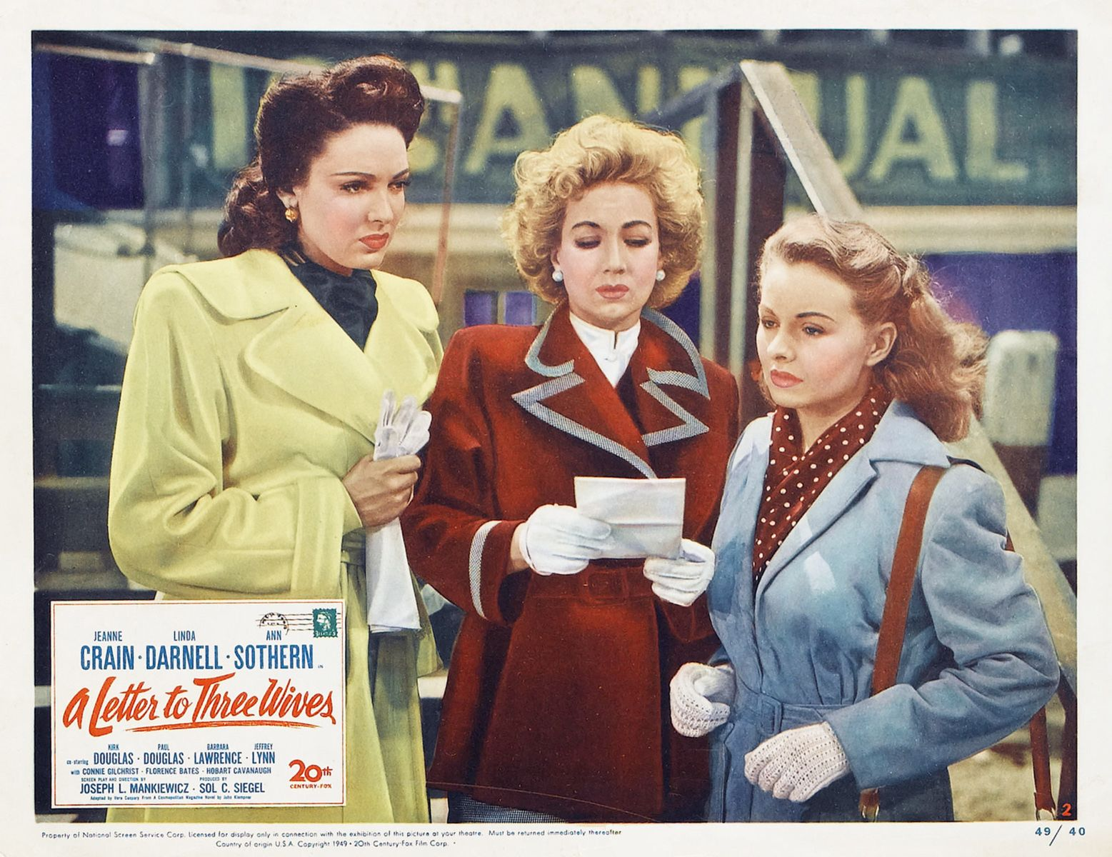 Lobby card for A Letter to Three Wives 1949 American romantic