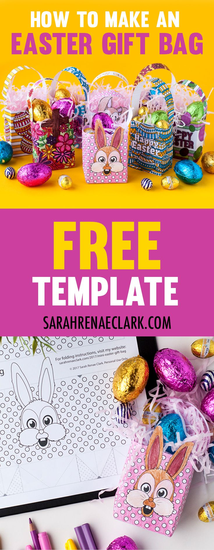How to make a mini easter gift bag easter gift bags easter and make your own mini easter gift bags with this free template and easy tutorial by sarah negle Image collections