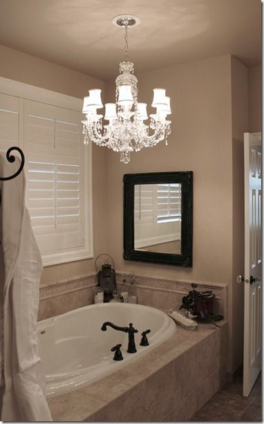Chrystal Chandelier in the bathroom http://fishtailcottage.blogspot ...