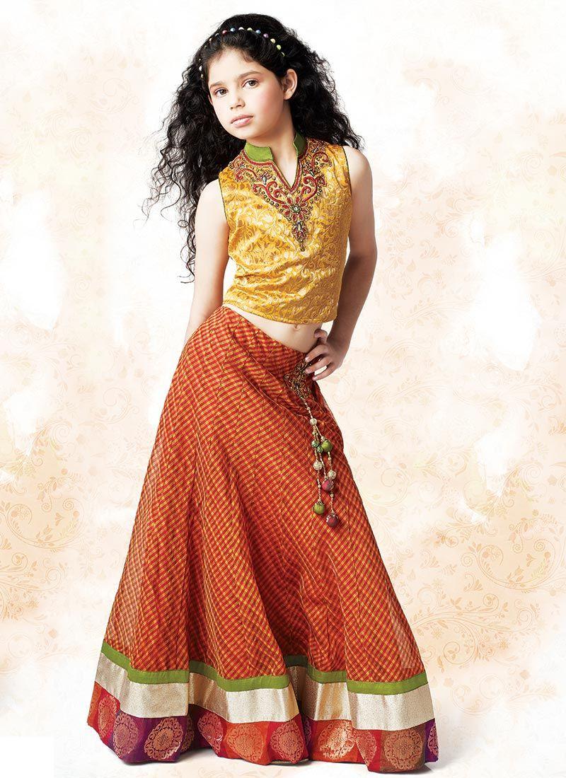 Adorning Silk Cotton Lehenga Choli   Clothes To Sew   Pinterest