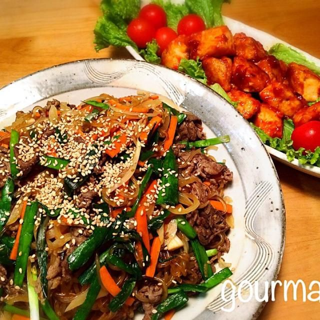 鶏ムネで ♪ コチュジャン多めにしたら、子供達 辛い〜って、レタスも一緒にモリモリ食べてました(≧∇≦) 韓国春雨を使って、チャプチェ などの夜ごはん♪ - 168件のもぐもぐ - プーティのヤンニョムチキン、チャプチェ  などの夜ごはん♪ by gourmand