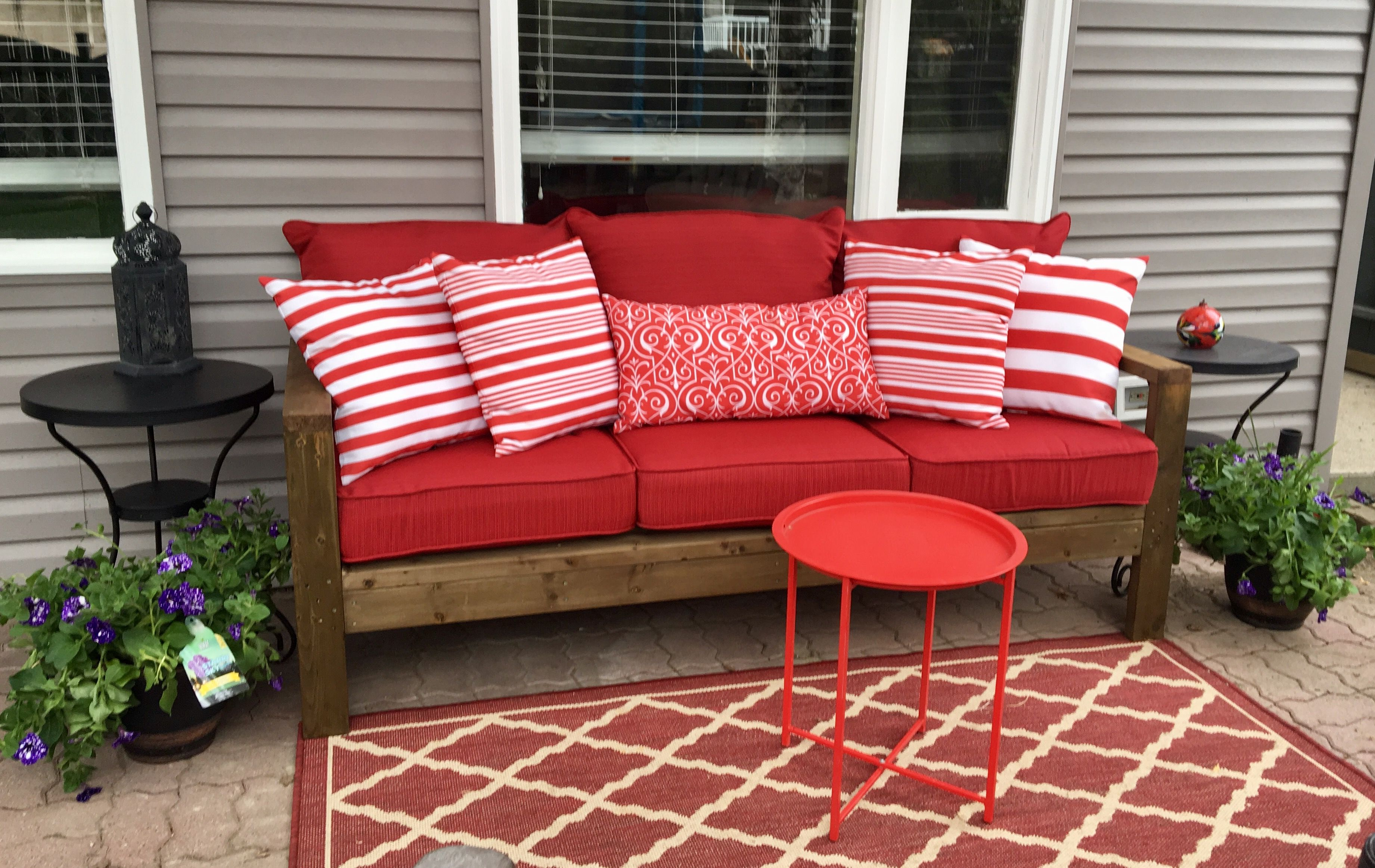 2x4 Outdoor Sofa With Red Cushions Ana White Anna S Outdoor Sofa