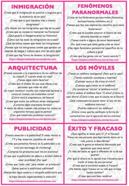 48 Tarjetas Para Clase De Conversación Conversacion En Español Planes De Lecciones De Español Aprender Español