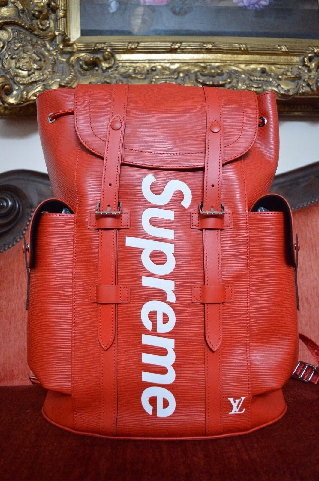62c588a9aa3 NEW Louis Vuitton x Supreme Christopher Backpack Book Bag Red RARE ...