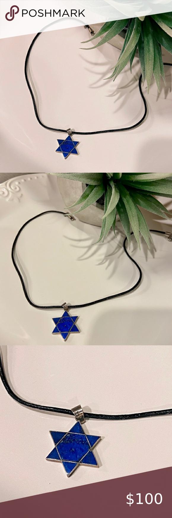 Jewish Star Lapis Lazuli Necklace Pendant In 2020 Lapis Lazuli Necklace Jewish Star Mens Accessories Jewelry