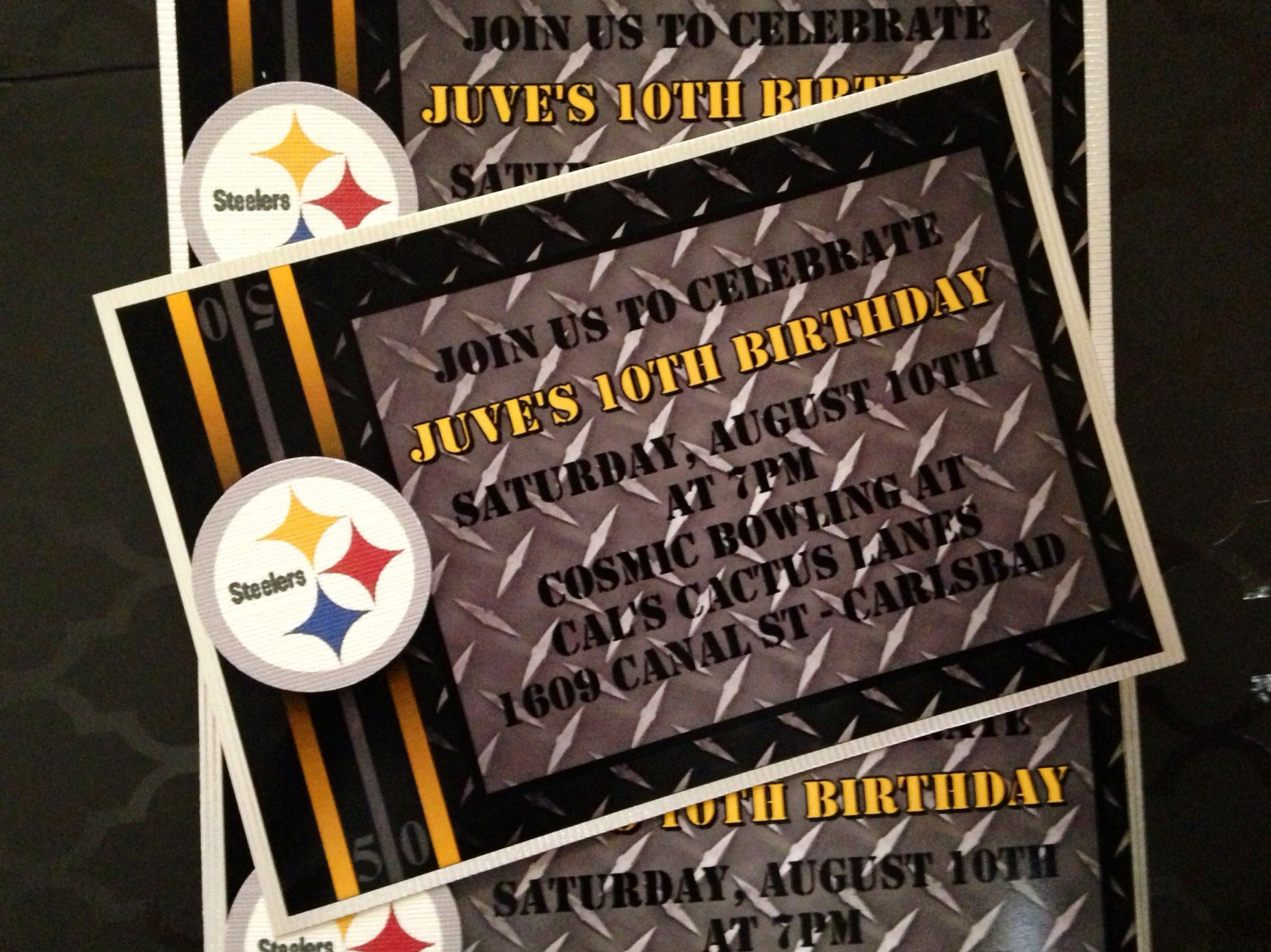 Steelers birthday invitation made by me pinterest birthdays steelers birthday invitation filmwisefo Gallery