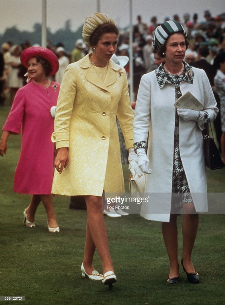 Queen Elizabeth II with Princess Anne and the Queen Mother