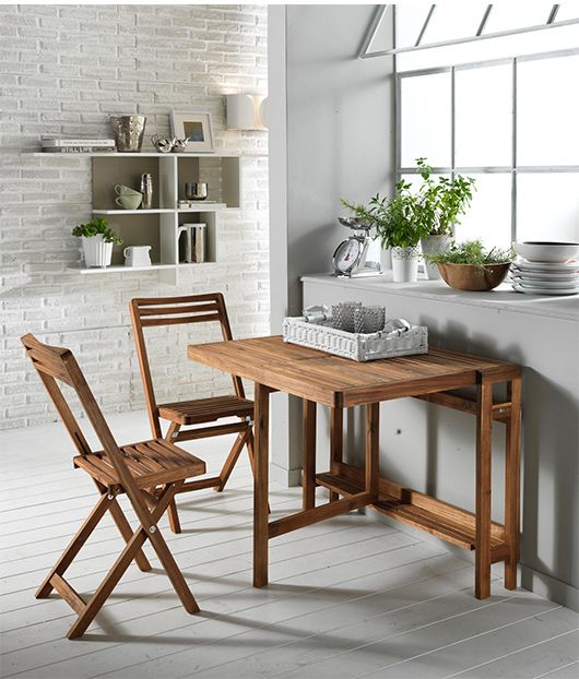 Tavolo pieghevole 2 sedie in legno salvaspazio per for Sedie tavolo esterno